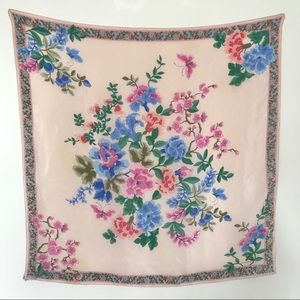 Vtg Liz Silk Scarf Blush with Vibrant Floral